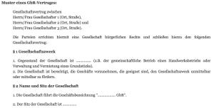 GbR-Vertrag Muster